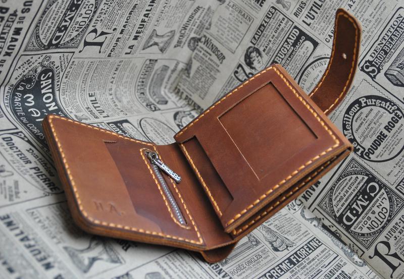 Кожаный кошелек тройного сложения K02h-210+orange