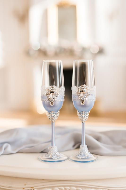 Бокалы на свадьбу Голубая лазурь