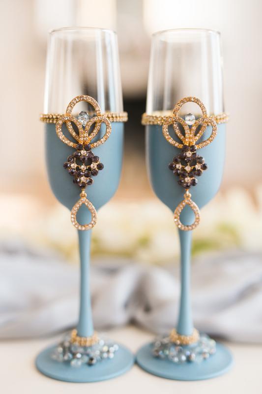 Фужеры на свадьбу Королевский голубой