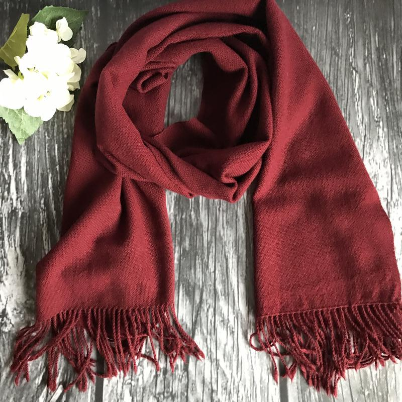 Тканый шарф винного цвета