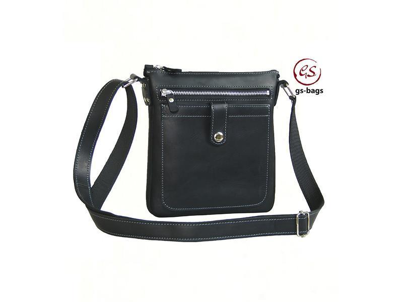 Мужская сумка планшет кожаная черная