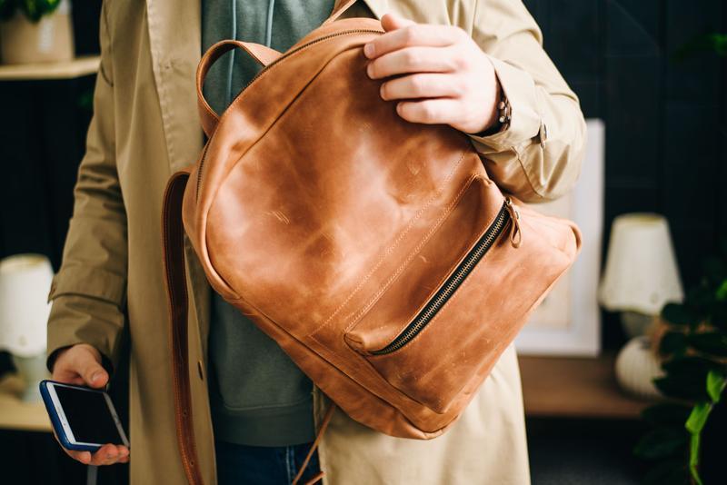 Стильный городской кожаный рюкзак рюкзак