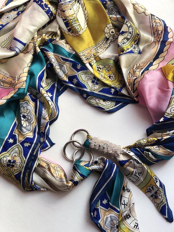 Шелковый платок ,,Розовый жемчуг,, от бренда My scarf, шарф-колье, шарф-чокер, шейный платок