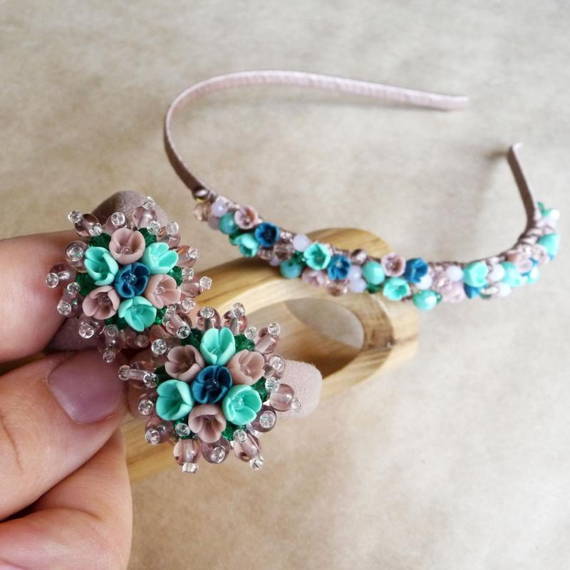 Бирюзовый комплект украшений с цветами для девочки, обруч и пара резинок, подарочный набор