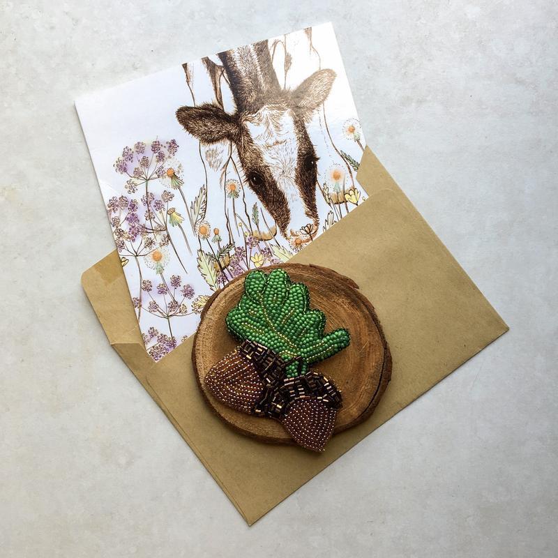 Брошка жолудь Брошь дубовый лист Брошка листок дуба Подарок