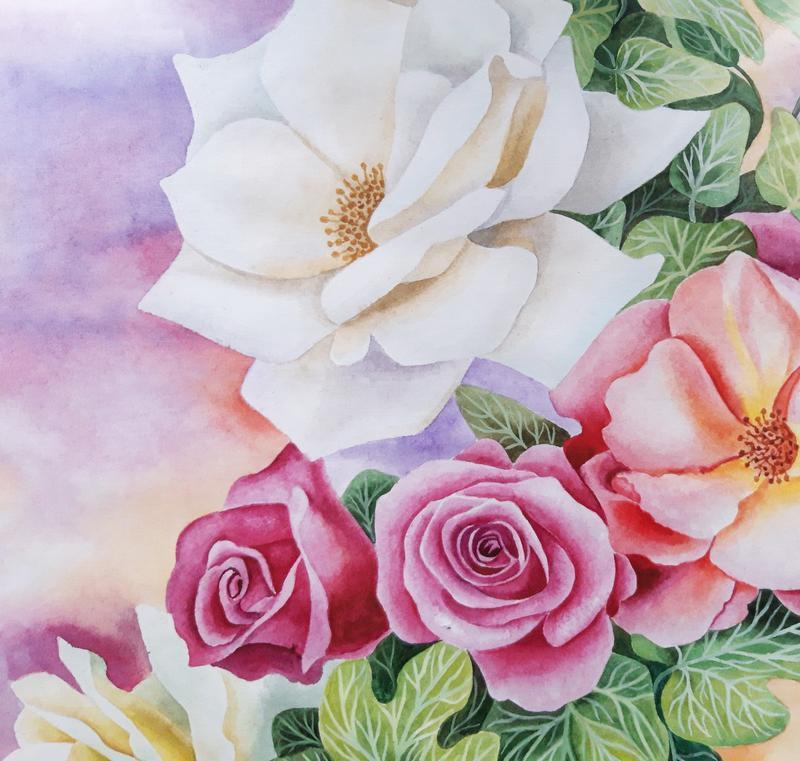 """Картина """"Розы в саду"""", акварель, акварельная бумага, 60х42"""