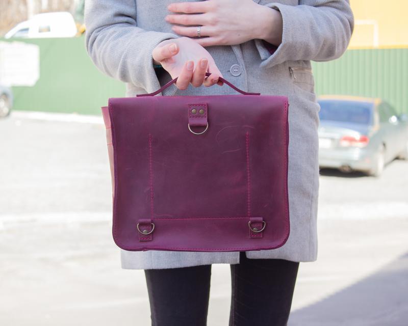 Кожаная сумка-трансформер женская