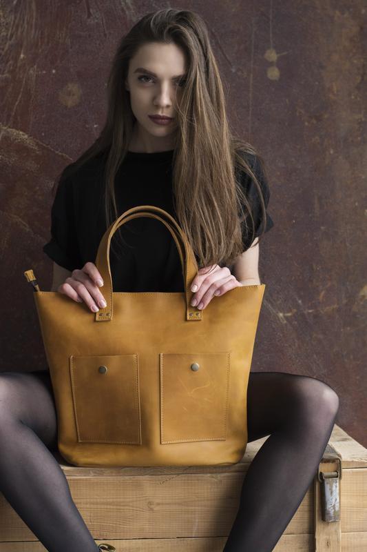 Женская желтая сумка из натуральной кожи