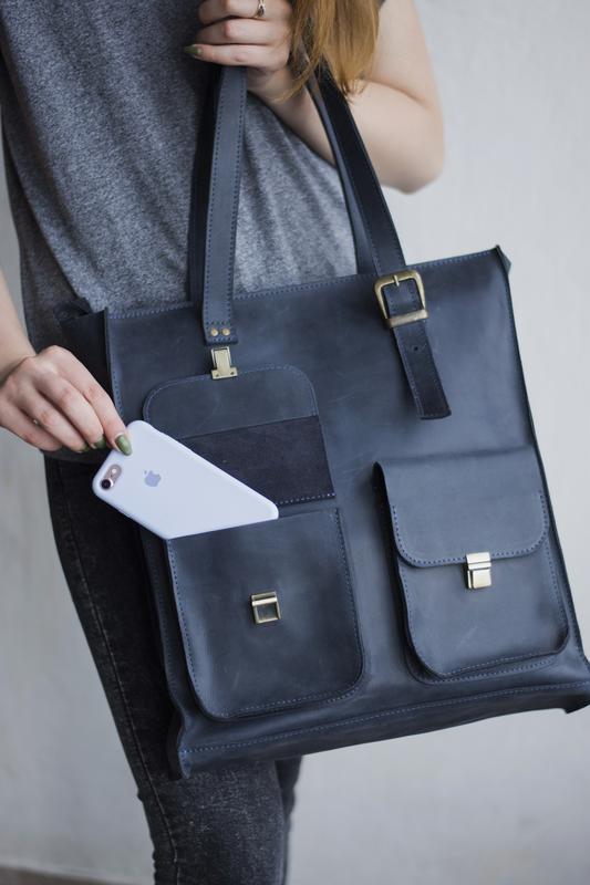 Синяя женская кожаная сумка с ручками