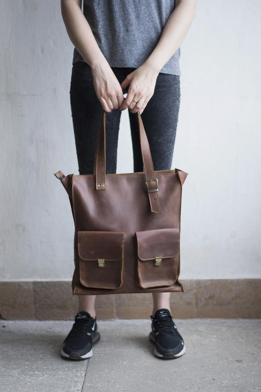 Женская кожаная сумка с ручками