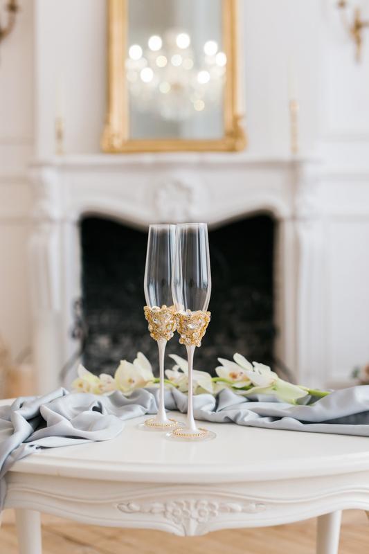 Свадебные бокалы Белое золото 2 шт