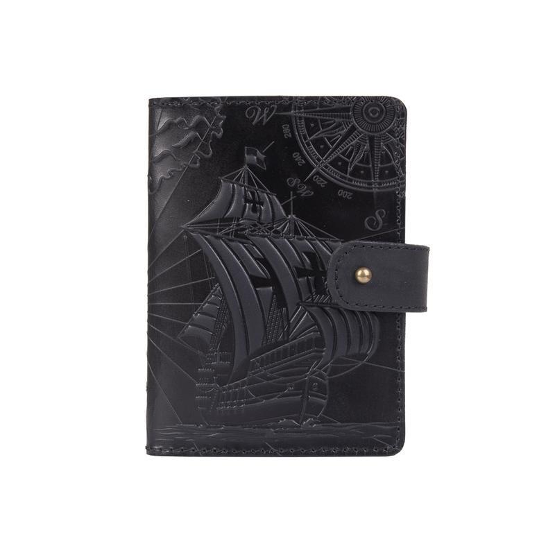 "Кожаное портмоне для паспорта / ID документов HiArt PB-02/1 Shabby Night ""Discoveries"""