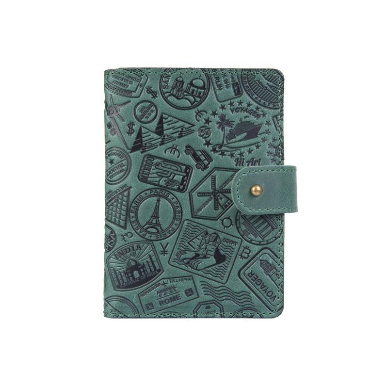 "Кожаное портмоне для паспорта / ID документов HiArt PB-02/1 Shabby Alga ""Let's Go Travel"""