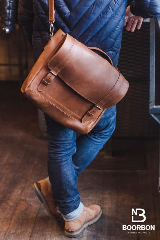 Кожаный мужской портфель для ноутбука и документов, Вместительная мужская сумка для работы (арт.617)