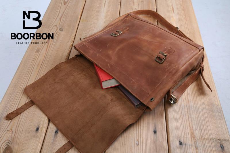 Коричневая кожаная сумка, Мужская сумка для документов (арт.617)