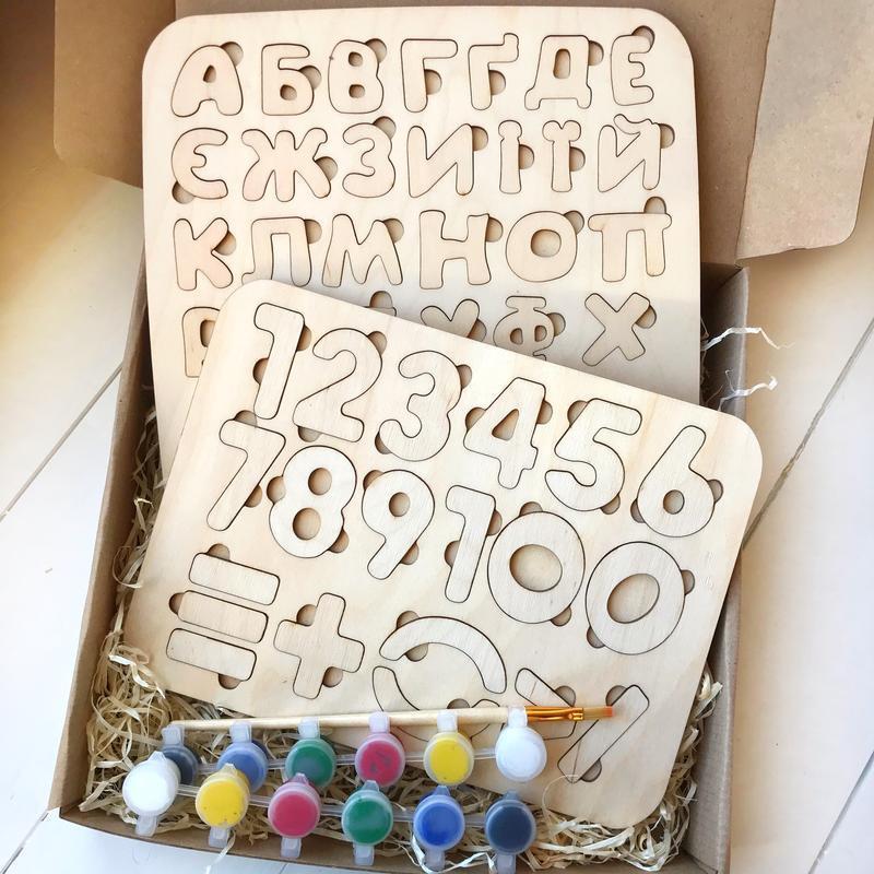 Пазл «Абетка маленька + Цифри + Фарби» Подарок на День рождения ребенку