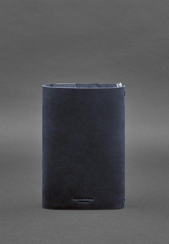 Кожаный блокнот софт-бук 7.0 темно-синий Crazy Horse