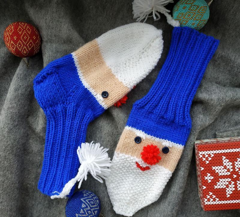 Детские веселые носочки с Санта Клаусом синие