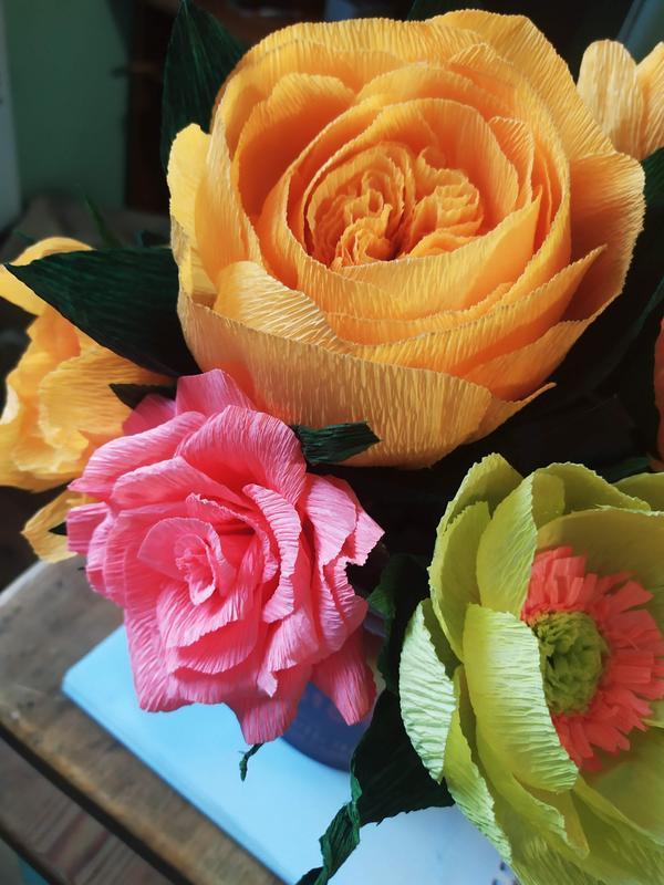 Розы букеты не большие, из бумаги