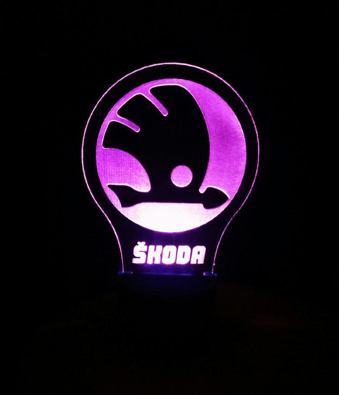 Шкода лого, scoda 3d ночник лампа светильник, подарок автомобилисту автолюбителю