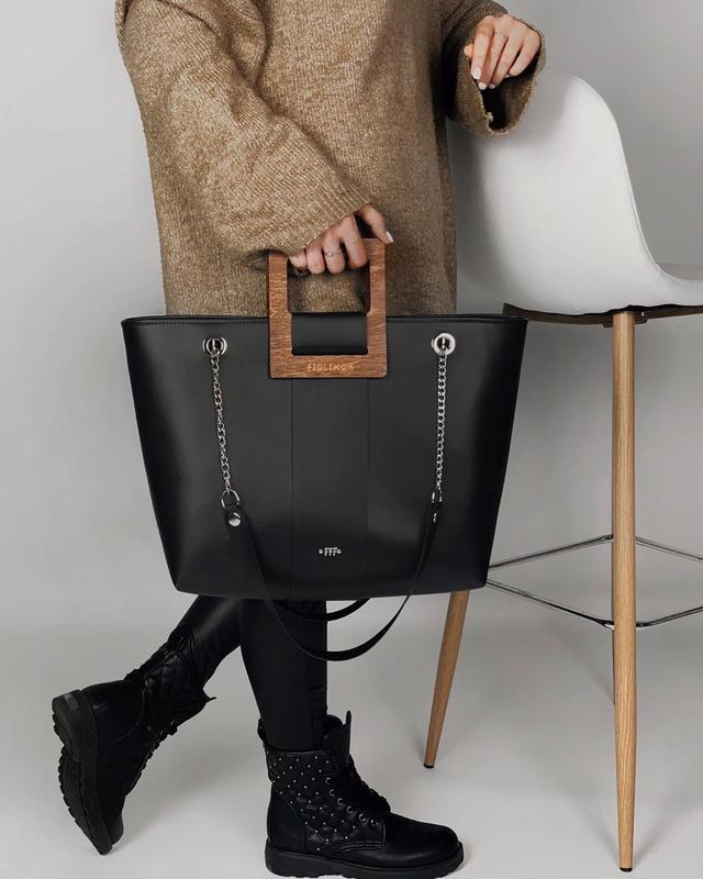 Дизайнерская сумочка FIGLIMON SHOPPER  черная