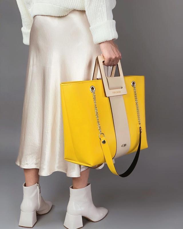 Стильная женская сумка FIGLIMON SHOPPER| желтая