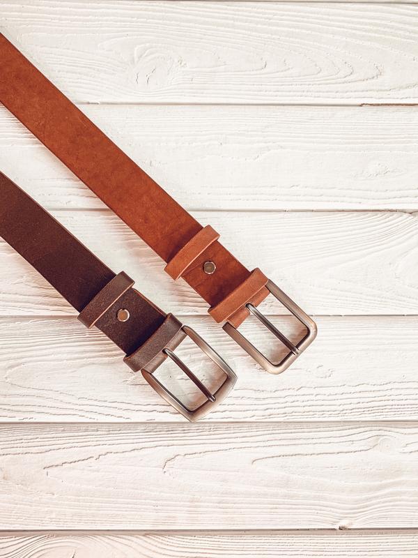 Коричневый кожаный ремень для джинсов. 100% натуральная кожа, ширина 4 см