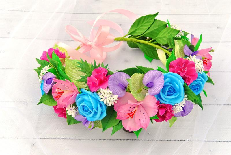 Венок с цветов Свадебный венок в тропическом стиле Украшение в прическу для девочки