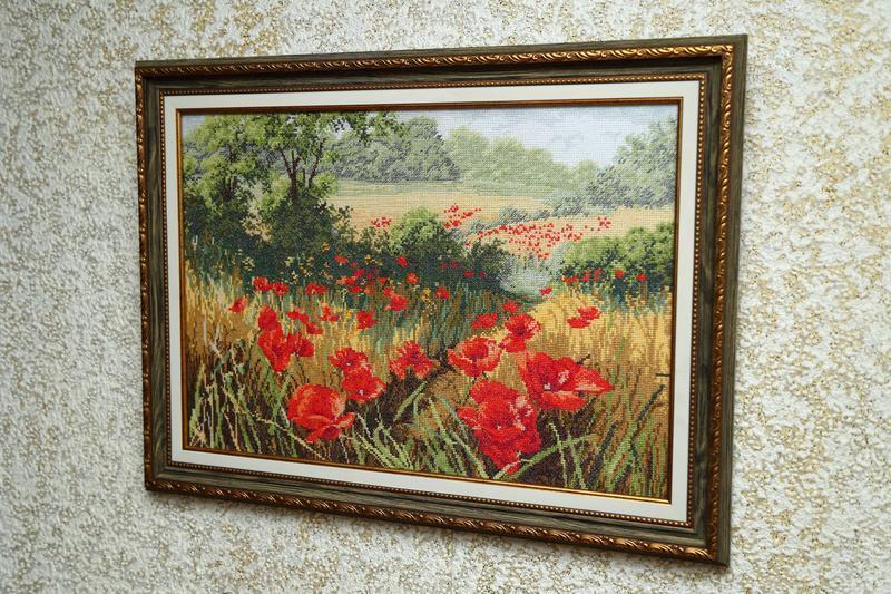 """Ручная работа, картина вышитая крестиком """" Маковое поле"""" №62030 - купить в  Украине на Crafta.ua"""