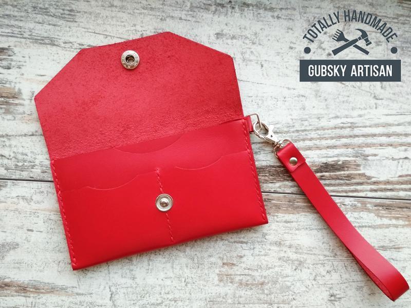 Красный чехол обложка для телефона, кошелёк женский с отделами для кредиток