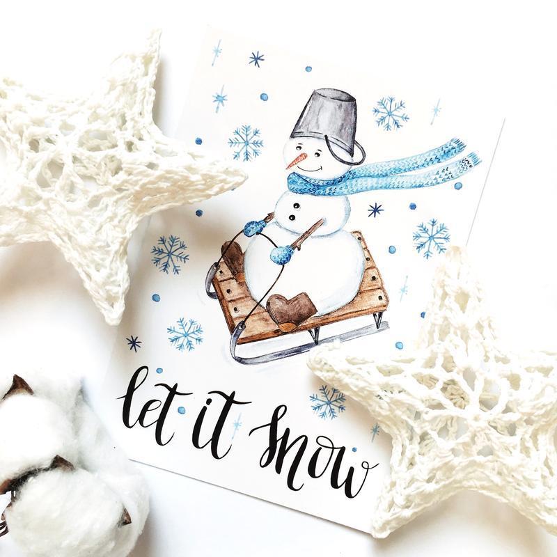 Открытка «Снеговик»