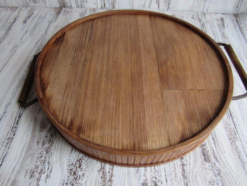 Поднос деревянный круглый