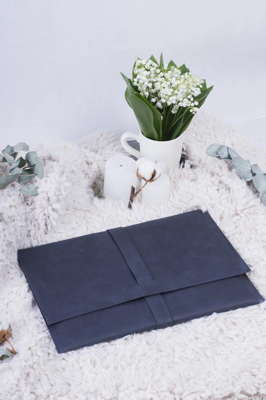 Кожаный чехол для Macbook синий