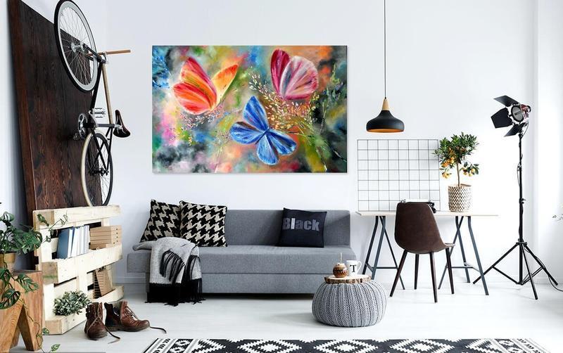 """Картина маслом """"Летняя сказка"""", бабочки  120 х 80 см"""