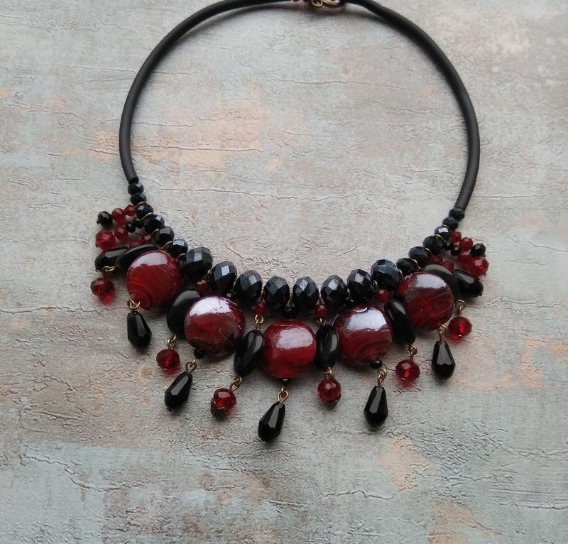 Колье чокер , ожерелье , массивное украшение на шею , чокер с агатом , колье с натуральными камнями