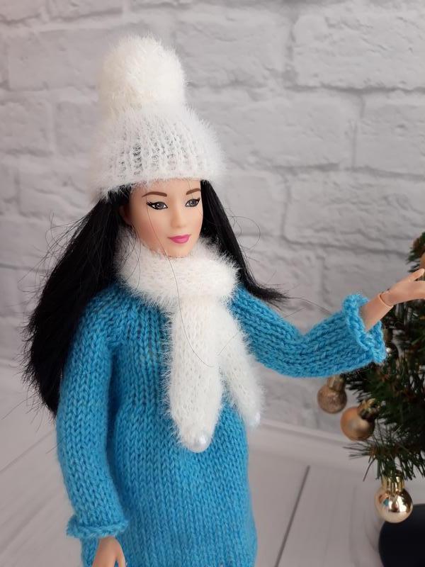 """Одежда для кукол Барби комплект """"Снежинка"""" шапочка с бубоном, подарок девочке"""