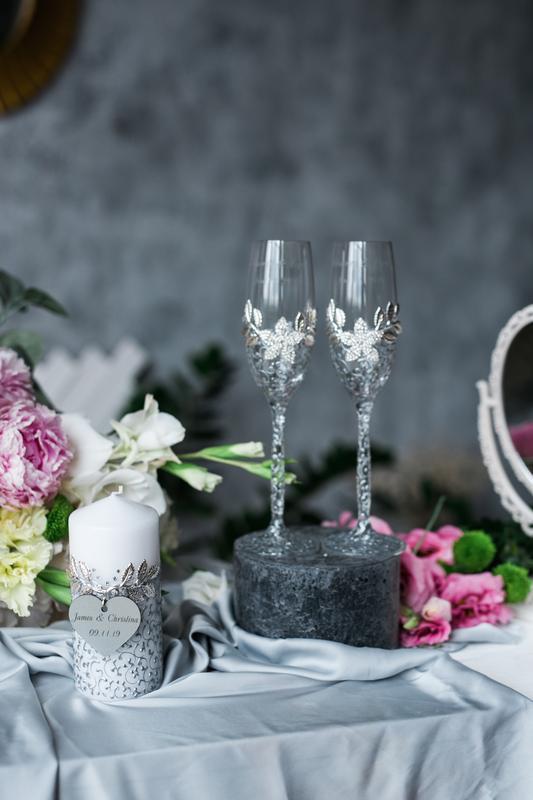 Бокалы на свадьбу Зимний сад. Свадебные бокалы с ажурной росписью.