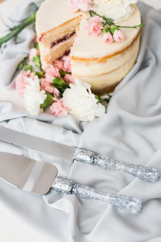 Прилади для весільного торта Срібна розпис