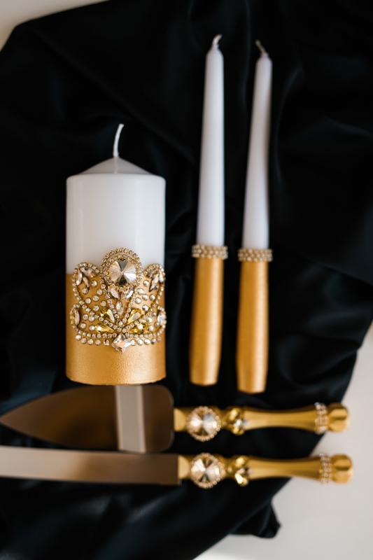 Набор свечей для свадебной церемонии Семейный очаг. Свечи в золотом цвете