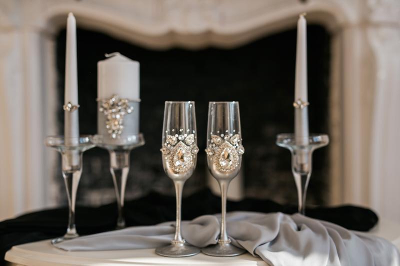 Набор на свадьбу - Свадебные Бокалы и набор свечей в едином стиле. 10 предметов в наборе