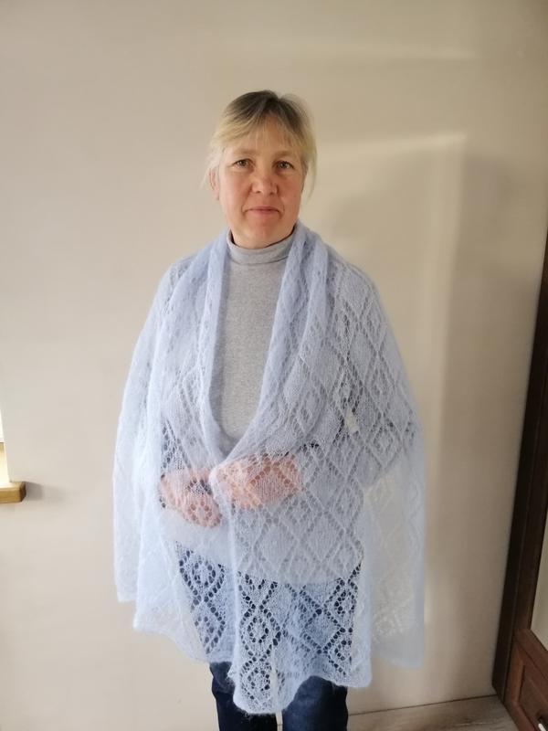"""Вязаный палантин шарф """"Нежное облако"""""""