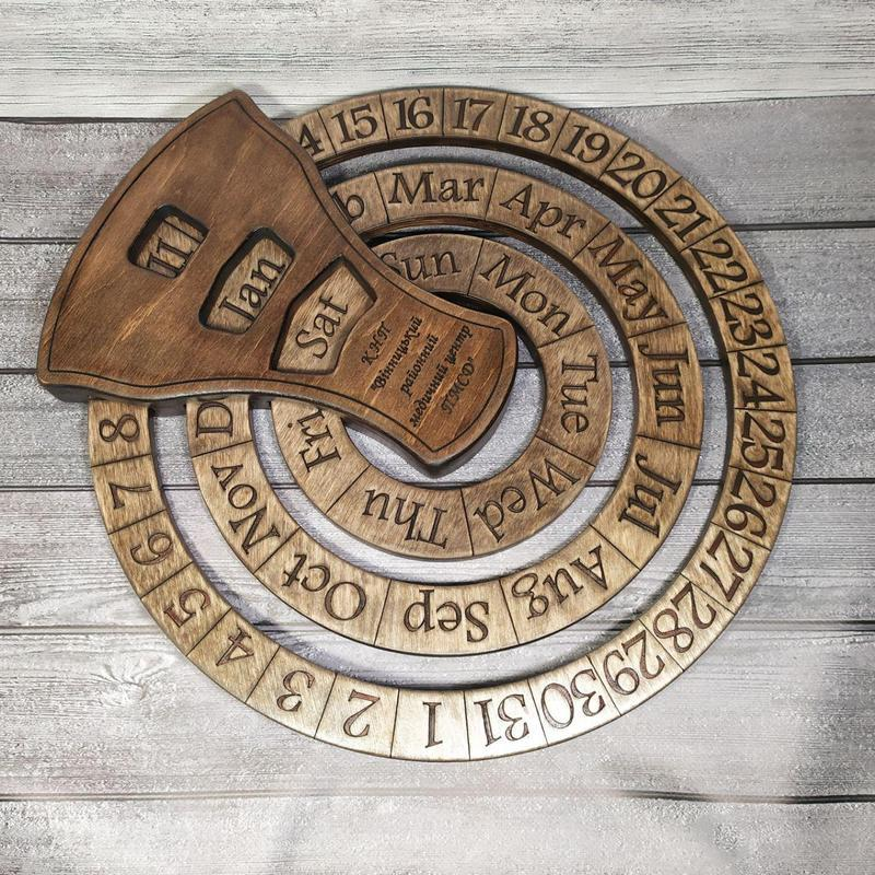 Дерев'яний нескінченний календар з вашим текстом, логотипом