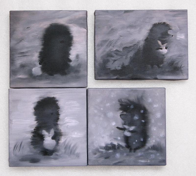 МИНИ картина Ежик в тумане и снежинки, 20х20 см, холст, масло, галерейная натяжка, на подарок!