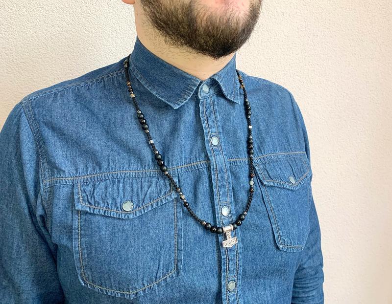 Мужское ожерелье « Сила Тора», агат, шунгит, гематит
