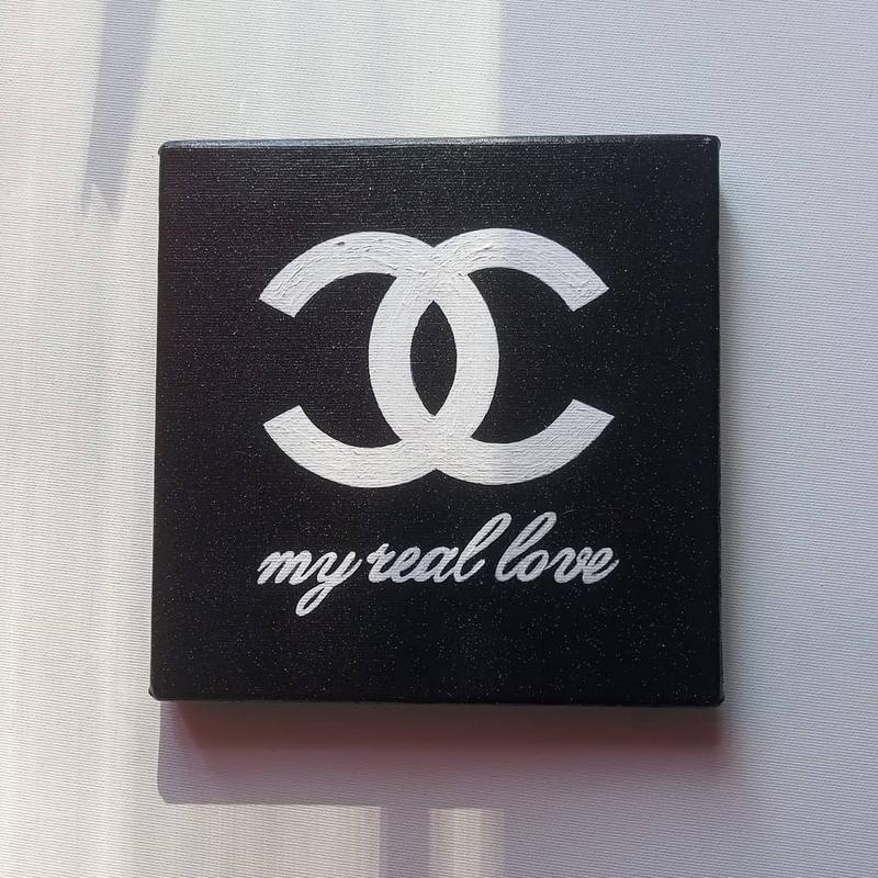 МІНІ картина З блискітками Шанель - моя справжня любов, 20х20 см, полотно, Chanel is my real love