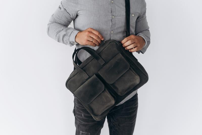 Мужская сумка для документов, серая мужская сумка