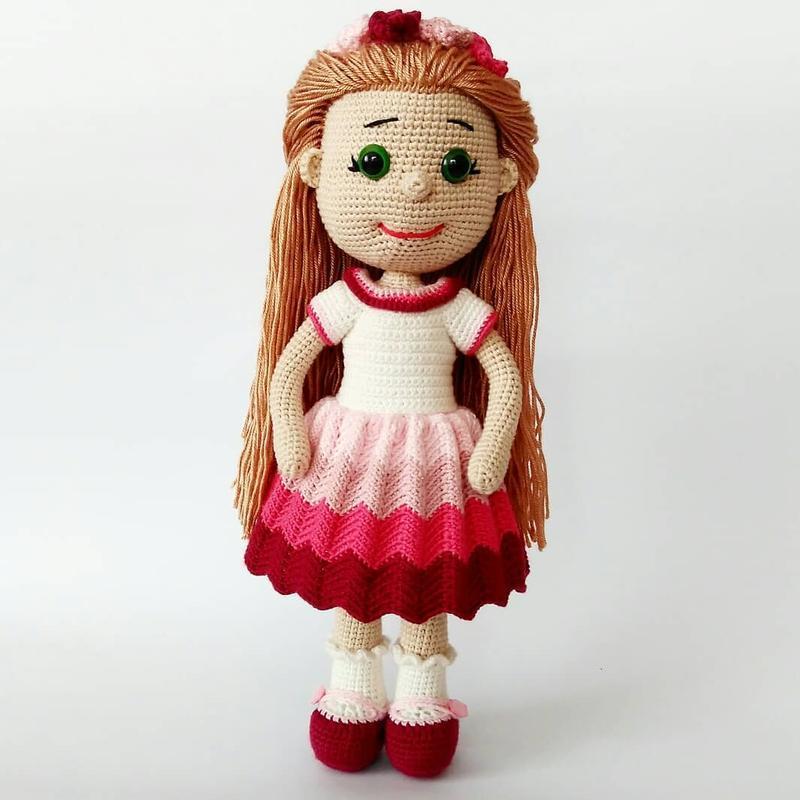 Glamour girl Кукла вязанная, эко-игрушка, интерьерная кукла