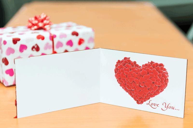 Открытка - Love you - Сердце - объёмная, двойная