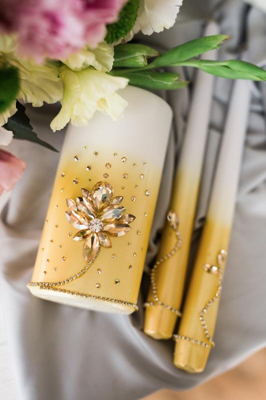 Набор свечей для свадебной церемонии Семейный очаг. Свечи в золотом цвете с декором из страз