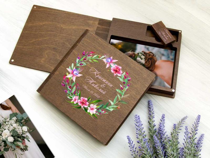 Деревянная коробка-книжка для фотографий с разделом под флешку — необычная альтернатива фотоальбомам